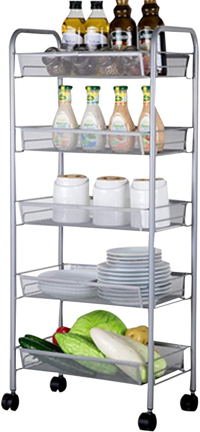 Serving Trolley Cart 5 Tier Storage Mobile Steel Frame with Brake with Guardrail Universal Wheel, Carrying Capacity 25 Kg, 3 colors (color   Silver)