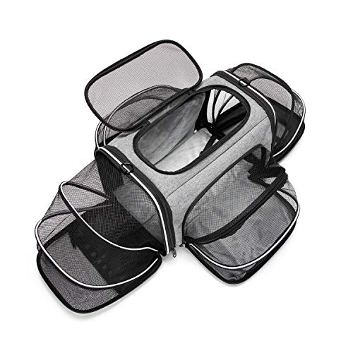 Estarer Soft Sided Pet Carrier Airline Approved for Small Medium Cat Dog,Puppy Car Seat Travel Bag Expandable with Removable Fleece Pad