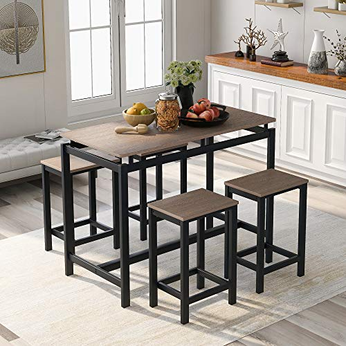 5 Pieces Dining Table Set, Rockjame Modern Counter Height Pub Table with 4 Chairs