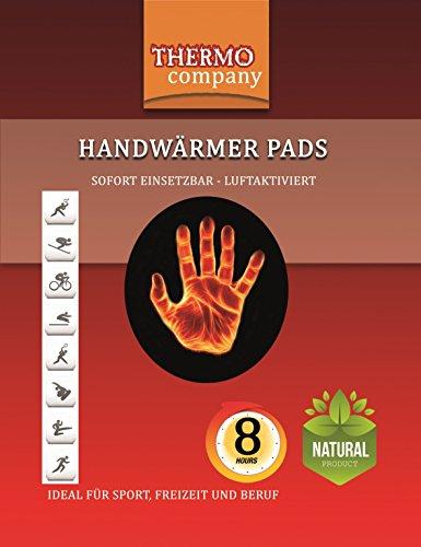 THERMO company Handwärmer Pads | Wärmepads Hände | Hand-Wärmekissen | Taschenwärmer extra warm | Bis zu 8 Stunden Wärme 20 Paar