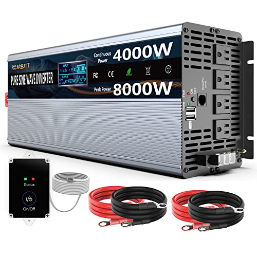 Pure Sine Wave Power Inverters 4000Watt 12V DC to AC 110V 120V Peak Power 8000Watt with Remote Control 4 AC Outlets and Dual USB Port for CPAP RV Car Solar System Emergency