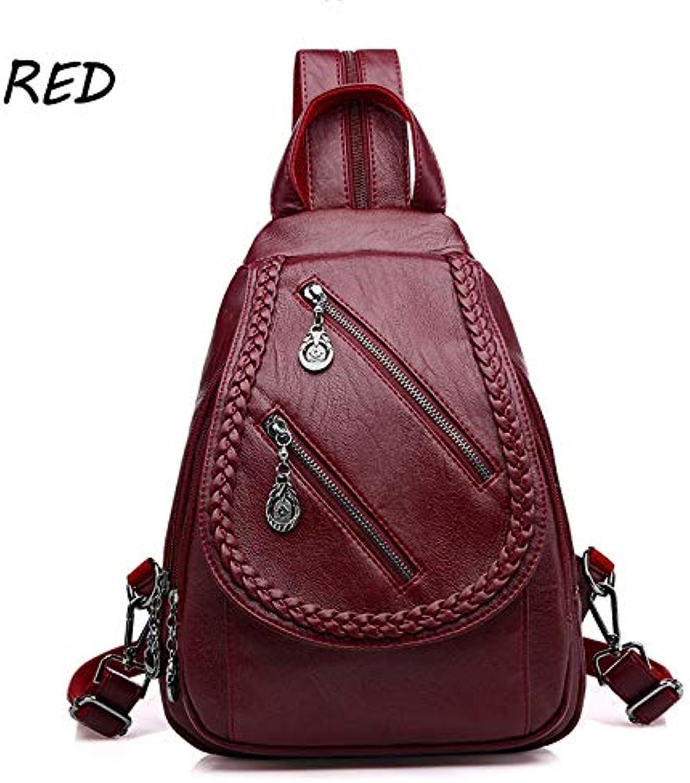 QYYDSJB Weave Rucksack Weibliche Marke Leder Rucksack Frauen Groe Kapazitt Reisetasche Reiverschluss Umhngetaschen Für Frauen 12 Zoll Rot