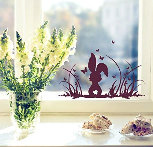 ilka parey wandtattoo-welt Fensterbilder Fensterdeko Ostern Frühling Hase Häschen Osterhase Wiese und Schmetterlinge M1364f