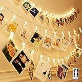 Adurei 5m/16.4ft 50 LED Photo Clips Luces Cadena con Control Remoto Batería Cargada 8 Modos Iluminación para Colgar Fotos para Fiesta Interior/Exterior(Blanco cálido) …