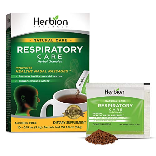 Herbion Naturals Respiratory Care Herbal Granules – 10 Ct for The Whole Family – Promotes Healthy Nasal Passages & Respiratory Function - Relieves Cold and Flu Symptoms – Supports Immune System