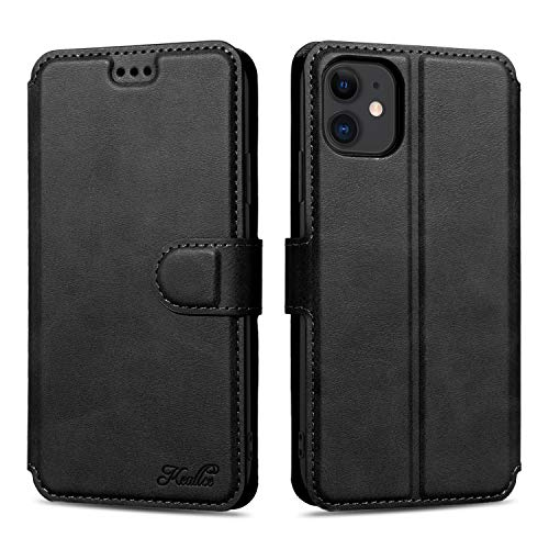 Keallce Custodia per iPhone 11, Cover in Pelle PU Custodia a Portafoglio con Slot Schede, Chiusura Magnetica e Cavalletto Flip Case per iPhone 11-6.1 , Nero