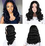 Royalvirgin Long Body Wave Bob parrucca capelli neri capelli sintetici fibra resistente al calore per donne nere parrucca capelli 45,7cm, parte centrale