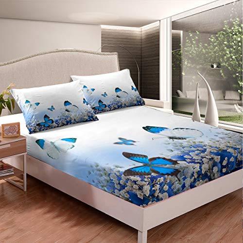 Juego de sábanas de mariposa con estampado de mariposas, juego de cama para niños, niñas, adolescentes, decoración botánica, estampado floral, funda de cama de 3 piezas de tamaño doble