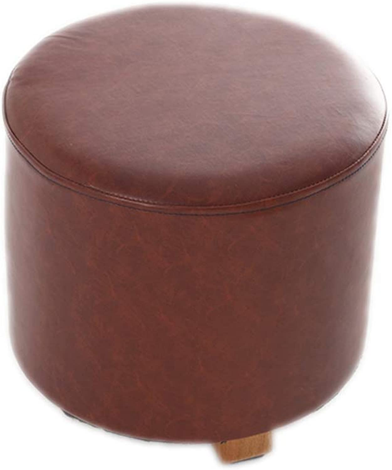 Footstool Change shoes Bench Columnar Small Chairs Seating Chair Round Upholstered Wooden Legs Foot Stools Home Multi-Function LEBAO (color   Brown)