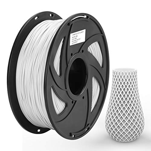 Ezgogo 3D Printing Filament Refill Pla 1.75mm, 1kg Spool (2.2lbs), Dimensional Accuracy +/- 0.05 mm, Fit Most FDM Printer(White)