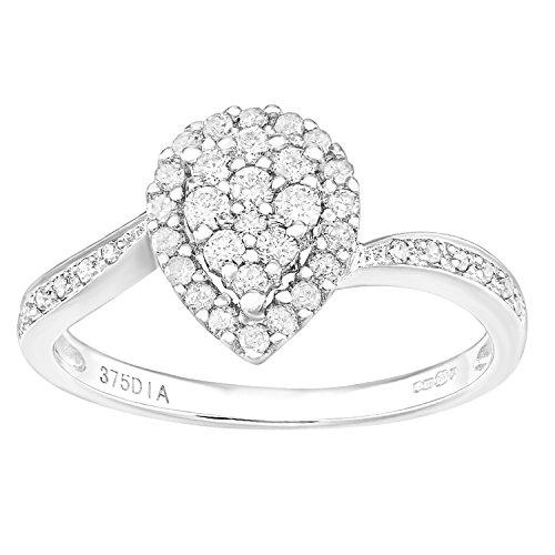 Naava 9ct wit goud traan halo diamant verlovingsring