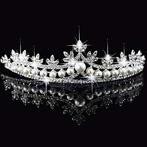 Xuniu Novia Corona de Cristal, Nupcial Princesa Rhinestone Perla Pelo Tiara Wedding...