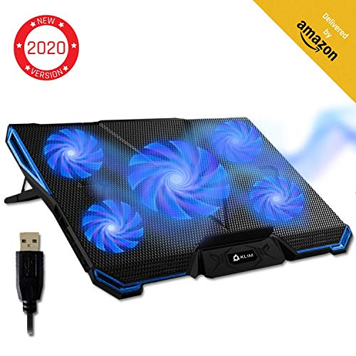 KLIM Cyclone Laptop Cooling Pad – 5 Fans Cooler – No More Overheating – Increase Your PC Performance and Life Expectancy – Ventilated Support for Laptop – Gaming Stand to Reduce Heating – Blue