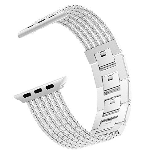 MoKo Cinturino Orologio Compatibile con iWatch 42mm 44mm Series 5/4/3/2/1, Cinturino Smartwatch in Acciaio Inossidabile con Maglie antisudore, Cinturini Ricambio, Cinturino Accessori, Argento