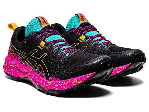 ASICS Women's Fujitrabuco Lyte Running Shoes, 7.5M, Black/Pink GLO
