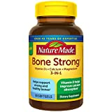 Nature Made Bone Strong with Calcium 260mg Helps Support Bone Strength, Vitamin D3 1000IU to Aid in Calcium Absorption, and Magnesium 250mg for Bone Health, 60 Count