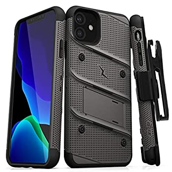 Zizo Bolt Cover - Case for iPhone 11 with Military Grade + Glass Screen Protector & Kickstand and Holster  Metal Gray/Black