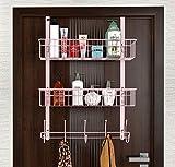 LUCYCAZ Over The Door 5 Hook Hanger Shelf Rack Organizer with 2 Mesh Basket Hanging Towel Clothes Barthroom for Hat & Bag (Pink)