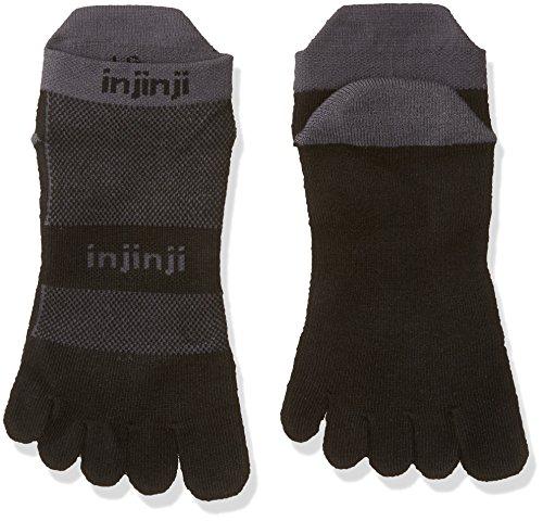 Calcetines bajos cinco dedo Injinji Midweight para correr de hombre - 203110GWH, Negro/Gris