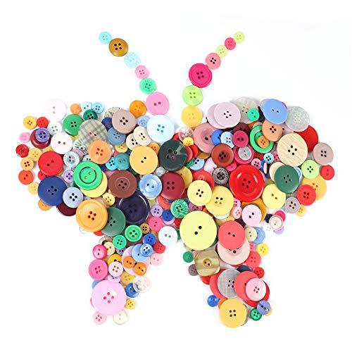 FOGAWA 600 Pcs Bunte Knöpfe Runde Knopf Set Harz Knöpfe zum Basteln Verschiedene Größen Bastelnknöpfe Puppenknöpfe 2 Löcher und 4 Löcher knopfsortiment für Kinder DIY Nähen Deko