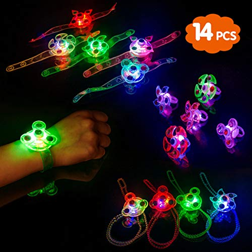 Highttoy Kids Party Favors,14 Pcs Light Up Bracelets Necklaces Rings Toys for Kids Gifts for 3-12 Year Olds Glow in The Dark Birthday Halloween Party Supplies Xmas Stocking Fillers Fidget Glowing Toys