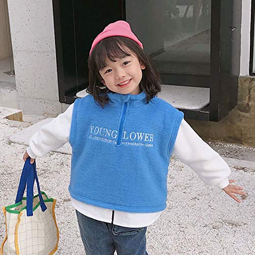 GL SUIT Kids Sweatshirt Stand Collar Sweater Fake Two-Piece Pullover Thickened Zipper Neck Jumper Spring Autumn Long Sleeve Tops for 1-6 Years,Blue,100cm