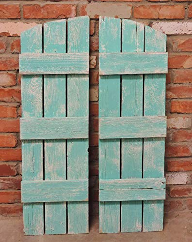 Rustic Window Arched Shutters Set of 2. Reclaimed Barn Wood Farmhouse Interior Exterior Wooden Decor. 36 Inches tall x 10.75 Inches Wide Primitive Decorative Shutter. Custom Exterior Wood Shutters