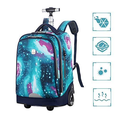 GNZY Trolley Rugzak voor kinderen, laptop, schooltas, 18 inch, waterdichte nylon, schoolrugzak voor tieners, volwassenen, heren, vrouwen, school, reizen, pendelen