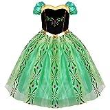 IMEKIS Vestido de princesa Anna para niñas con diseño de princesa helada, para carnaval, disfraz, tutú de flores, vestido de fiesta de cumpleaños con accesorios de hadas