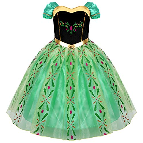 Costume da principessa del ghiaccio Anna con mantello, per bambini, feste di compleanno e cosplay, travestimento di Carnevale e Halloween, con corona e bacchetta magica, misura 98-140 verde 4-5 Anni