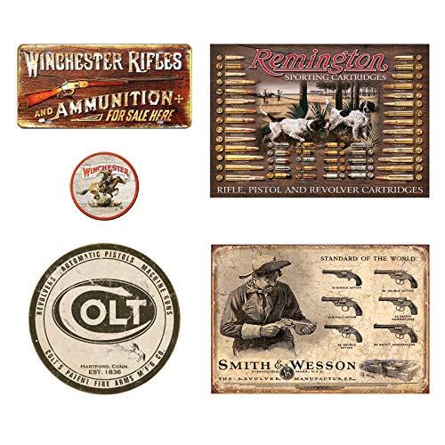 Cartel de metal vintage con letreros de metal Winchester Rifles y munición, tablero de bala Remington, logotipo redondo de Colt, fabricante de revólver Smith y Wesson, imán con logotipo de Winchester