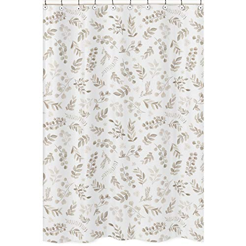 Sweet Jojo Designs Floral Leaf Bathroom Fabric Bath Shower Curtain - Ivory Cream Beige Taupe and White Gender Neutral Boho Watercolor Botanical Flower Woodland Tropical Garden