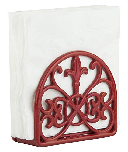 Home Basics Cast Iron Fleur De Lis Napkin Holder, Red