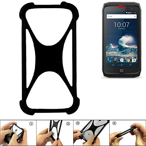 K-S-Trade Handyhülle Kompatibel Mit Crosscall Action-X3 Schutz Hülle Silikon Bumper Cover Hülle Silikoncase TPU Softcase Schutzhülle Smartphone Stoßschutz, Schwarz (1x)