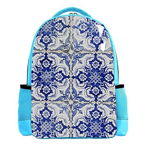 SIDOLI Hauswand aus portugiesischen Fliesen, Schulrucksack Schultasche Nette Bookbags Rucksack Laptop Rucksack Diebstahlsicher Casual für Kinder Mädchen Jungen
