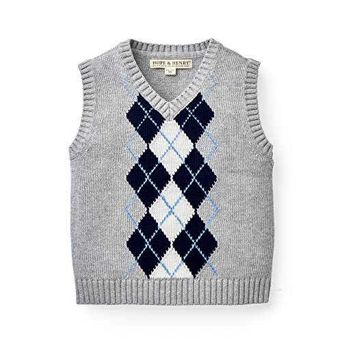 Hope & Henry Boys' Grey Argyle C...