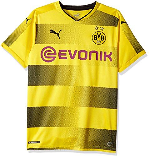 PUMA Men's BVB Home Replica Shirt with Sponsor Logo, Cyber Yellow Black, Medium