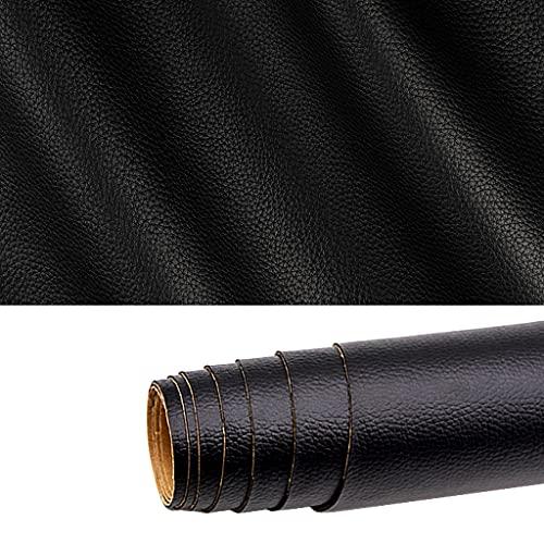Gudong toppa in pelle, un rotolo di toppa in pelle autoadesiva, pelle sintetica fai-da-te per seggiolino auto divano mobili riparazione e ristrutturazione in pelle 42 x 137 cm (nero)