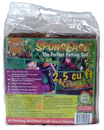 SPONGEASE Coconut Coir Compressed Block expands up to 18.7 Gallons (2.5 Cu Ft) - Ideal Growing Medium for Potting Mix - Healthy Roots, Healthy Plants and Bountiful Harvest (1 Pack)