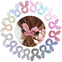 16 Pack of Scrunchies Bow Scrunchies for Hair Cotton Ponytail Holder Hair Scarf Thick Hair Ties Hair Scrunchies for Women Bunny Ear Scrunchies with Bow Scrunchies for Hair Scrunchy Scrunchie Pack 16