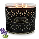 Valentine's Day Gift Candles for Home Scented Large 3 Wick Candle,14.5Oz 125 Hours Soy Wax, Aromatherapy Jar Candle Stress Relief Jar Candle Gifts Teachers Gifts Women Black Lavender.