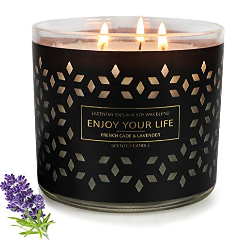 Scented Candles for Home Scented Large 3 Wick Lavender Candle,14.5Oz 125 Hours Soy Wax, Aromatherapy Jar Candle Stress Relief Gifts for Women Teachers Gifts Black Mother's Day Gift