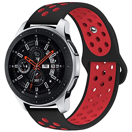 KADES Galaxy Watch 46mm Bands, Gear S3 Bands, 22mm Universal Replacement Strap with Quick Release Pin Compatible for TicWatch Pro, Amazfit Stratos Smart Watch (Black Red)