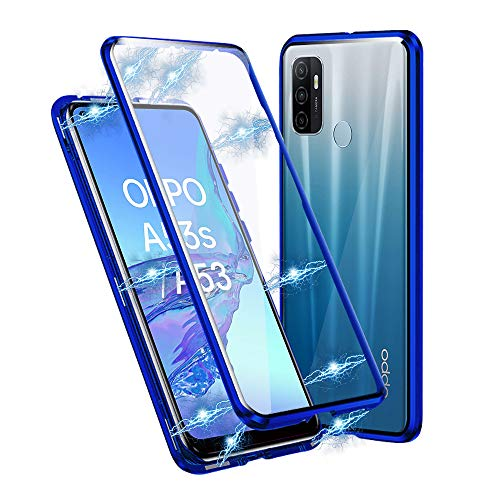 Ellmi Funda para OPPO A53 / OPPO A53s, Adsorción Magnética Parachoques de Metal con 360 Grados Protección Case Cover Transparente Ambos Lados Vidrio Templado Cubierta (Azul)
