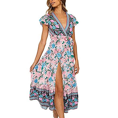 WHZXYDN Vestido Largo Estampado con Cuello En V Y Cordones De Comercio Exterior Transfronterizo De Mujer Vendedora Caliente