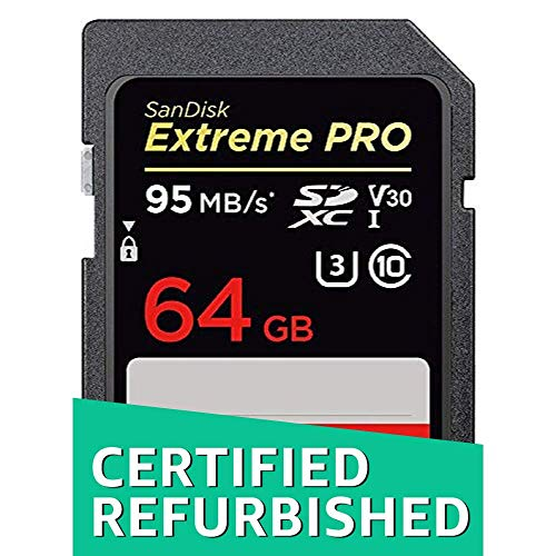 SanDisk Extreme PRO 64GB SDXC UHS-I Memory Card up to 95 MB/sec, class 10, U3, V30 (Generalüberholt)