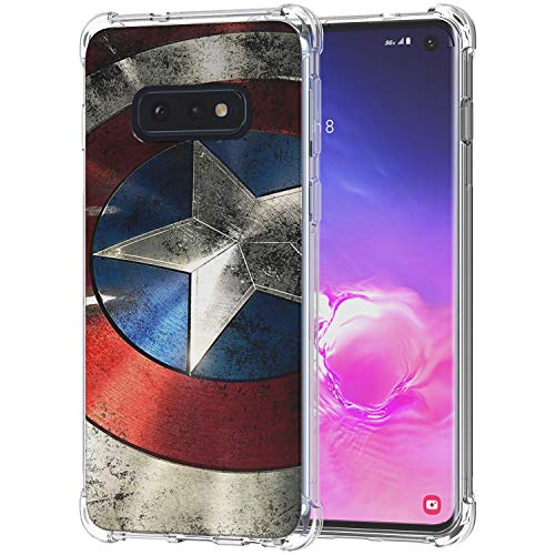 Galaxy S10e Case, Ailiber Captain America's Shield Super Hero Red Retro Thin Light Design Shock Absorption Soft TPU Bumper Protective Cover for Samsung Galaxy S10 e Lite 5.8 inch - Captain Shield