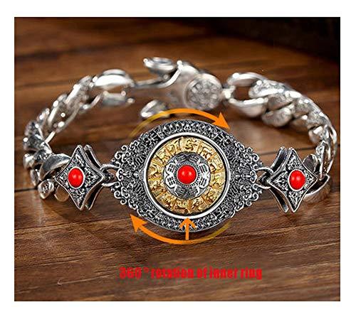 Pulsera de plata 925 para hombres y mujeres, pulseras del zodiaco, estilo retro, de moda, pulseras europeas y americanas, estilo chino, recuerdo de regalo dominante, 123, Bravetroops, 22 cm