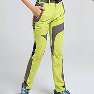 Cool Thin UV Protection Waterproof Pants Hiking Pants for Outdoor Sport Women's Bright Green Quick Dry Pants Cloth (Size : S)