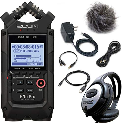 ZOOM H4n PRO - Registratore per cellulare nero + set di accessori APH-4n Pro + cuffie Keepdrum